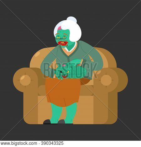 Zombie Granny. Grandmother Zombi. Grandma Revived Dead. Green Monster Old Woman