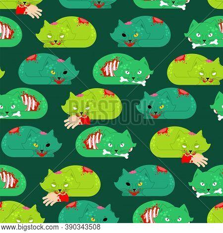 Zombie Cat Pattern Seamless. Pet Zombi Background. Kitten Revived Dead Texture. Kitty Green Monster