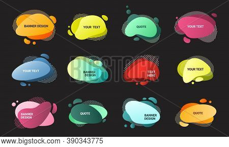 Liquid Abstract Banners Set. Posters Teardrop With Blue Color On Black Background Creative Elements