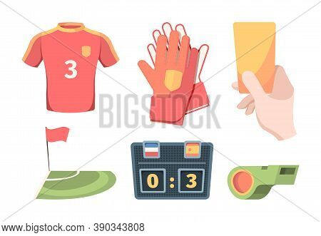 Soccer Equipment Set. Red Shirt Of Football Club Player Goalkeeper Gloves Hand Holds Yellow Card Ele