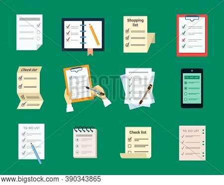 Checklist Test To Do Set. Document Questionnaire With Brochure With Choice Of Wishes Notes And Remin