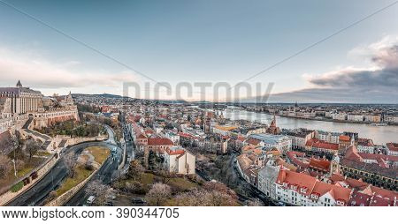 Aerial Panoramic Drone Shot Of Matthias Church On Buda Hill In Budapest Before Sunrise In Winter