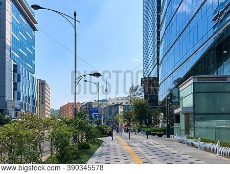 Seoul, South Korea - May 31, 2018: View Of Namsan Mountain And N Seoul Tower Between High-rise City