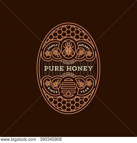 Label Design Tamplate In Trendy Linear Style For Honey Packaging Witn Floral Ornament, Bee And Beehi