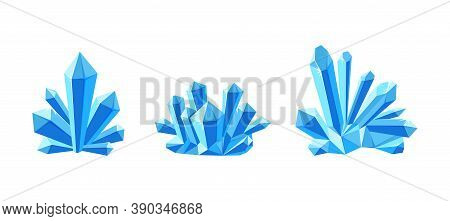 Ice Crystals Or Gem Stones With Shade. Set Of Crystal Druses Made Of Blue Mineral Isolated In White