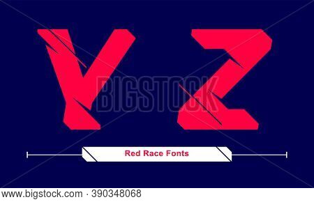 Vector Graphic Alphabet In A Set Y,z, With Abstract Red Race Speed Modern Font. Typography Design Fo