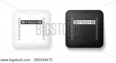 Black And White Ribbon In Finishing Line Icon Isolated On White Background. Symbol Of Finish Line. S