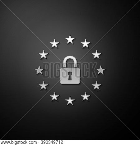 Silver Gdpr - General Data Protection Regulation Icon Isolated On Black Background. European Union S