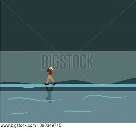 Man Walking On Flooded Road. Flood Natural Disaster With House, Heavy Rain And Storm , Damage With H
