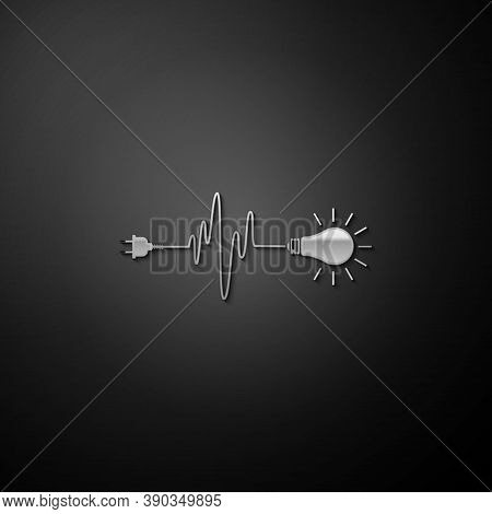 Silver Wire Plug And Light Bulb Icon Isolated On Black Background. Plug, Lamp And Cord In The Form O