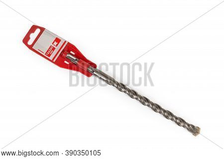 Masonry And Concrete Drill Bit With Special Shank And Carbide Bit Tip On Plastic Holder Label With S