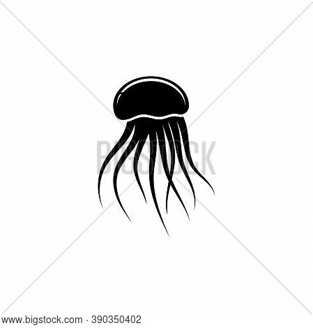 Jellyfish Silhouette, Floating Medusa. Flat Vector Icon Illustration. Simple Black Symbol On White B