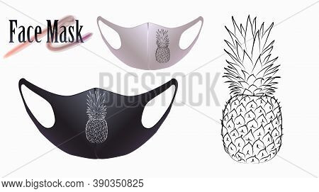 Vector Illustration Of Pineapple On A Facial Mask. Beautiful Drawing For A Face Mask.
