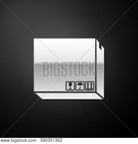 Silver Carton Cardboard Box With Traffic Symbols Icon Isolated On Black Background. Delivery And Pac