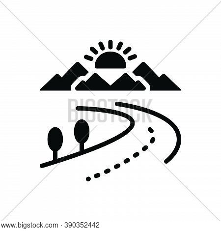 Black Solid Icon For Highway Highroad Thoroughfare Turnpike Road Navigation Avenue Path Route Way Mo