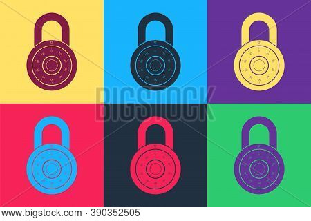 Pop Art Safe Combination Lock Wheel Icon Isolated On Color Background. Combination Padlock. Protecti
