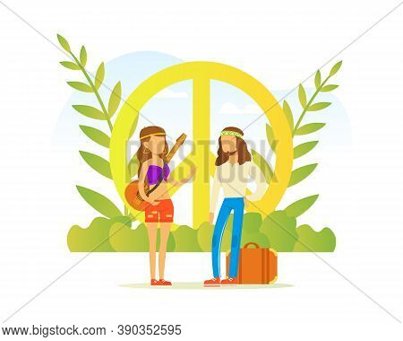 Hippie People Characters, Couple Wearing Retro Clothes Of The 60s And 70s Standing At Peace Style Ve