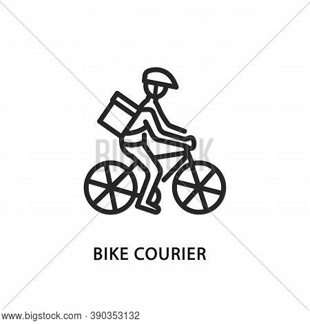 Food Delivery Bike Flat Line Icon. Vector Illustration Bicycle Courier With Helmet And Package Produ