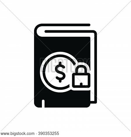Black Solid Icon For Certain Book Locked Note-book Secure Safe Protected Cyber Privacy Padlock