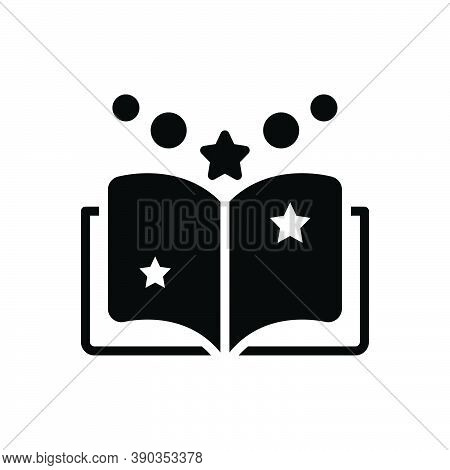 Black Solid Icon For Fiction Tale Saga Famous Legendary Novel Myth Legend Book Knowledge Dictionary