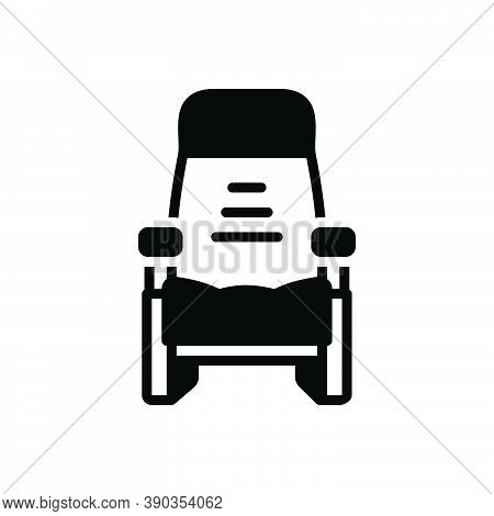 Black Solid Icon For Seat Chair Stool Padding Seating Throne Armchair Comfortable Relax