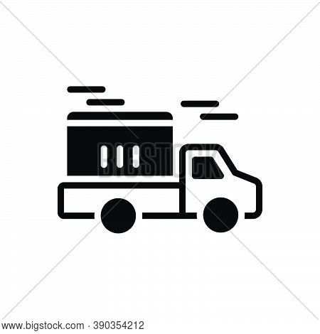 Black Solid Icon For Delivery Conveyance Carriage Transportation Transport Distribution Dispatch Rem