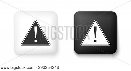 Black And White Exclamation Mark In Triangle Icon Isolated On White Background. Hazard Warning, Care
