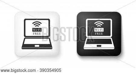 Black And White Laptop And Free Wi-fi Wireless Connection Icon Isolated On White Background. Wireles