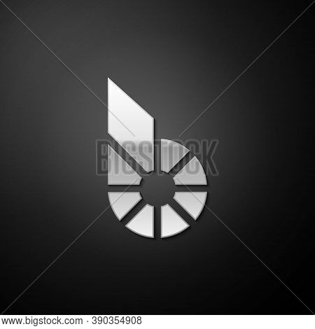 Silver Cryptocurrency Coin Bitshares Bts Icon Isolated On Black Background. Physical Bit Coin. Digit