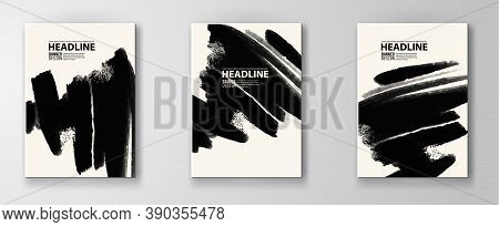 Black Abstract Design. Ink Paint On Brochure, Monochrome Element Isolated On White. Grunge Banner Pa