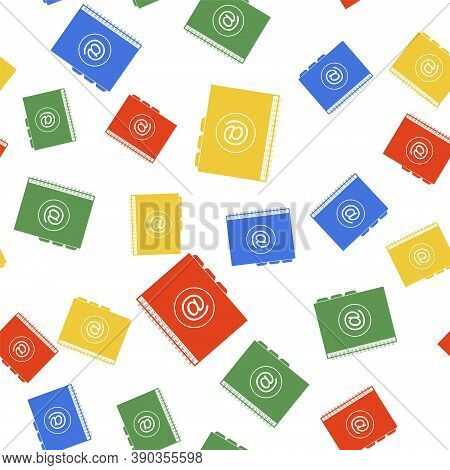 Color Address Book Icon Isolated Seamless Pattern On White Background. Notebook, Address, Contact, D