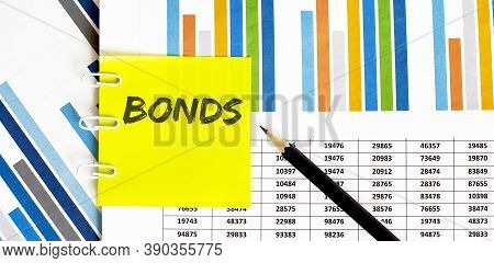 Yellow Sticker With Text Bonds On The Chart With Pencil . It Can Be Used As A Business And Financial