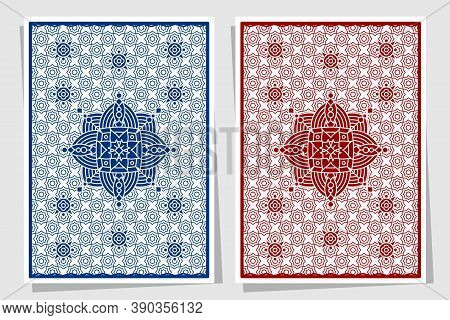 Playing Card Back Side Design. Set Of Two Variants, Blue And Red.
