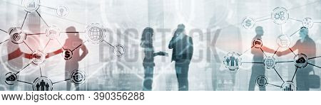Organisation Structure. Peoples Social Network. Mixed Media Website Header Concept.