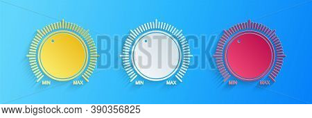 Paper Cut Dial Knob Level Technology Settings Icon Isolated On Blue Background. Volume Button, Sound