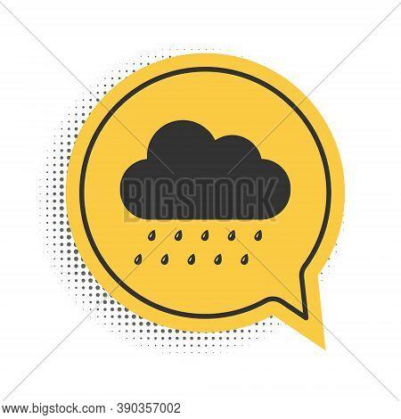 Black Cloud With Rain Icon Isolated On White Background. Rain Nimbus Cloud Precipitation With Rain D