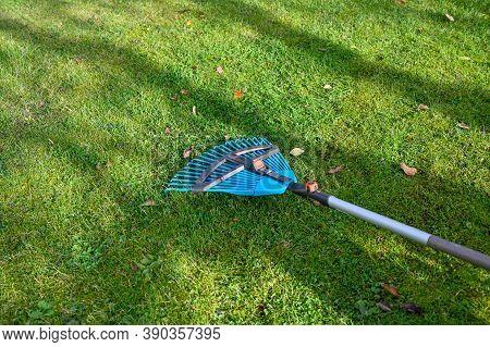 Rake In Garden Raking Leaves In Fall