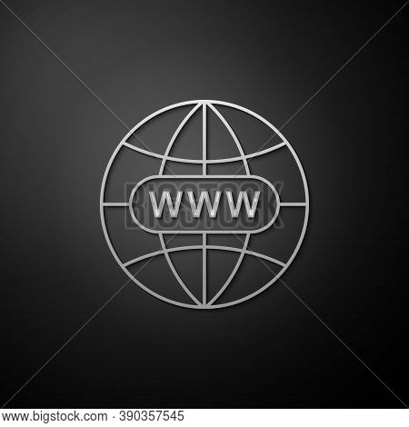 Silver Go To Web Icon Isolated On Black Background. Www Icon. Website Pictogram. World Wide Web Symb