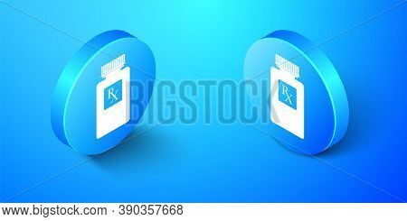 Isometric Pill Bottle With Rx Sign And Pills Icon Isolated On Blue Background. Pharmacy Design. Rx A