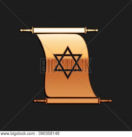 Gold Torah Scroll Icon Isolated On Black Background. Jewish Torah In Expanded Form. Torah Book. Star