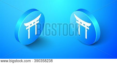 Isometric Japan Gate Icon Isolated On Blue Background. Torii Gate Sign. Japanese Traditional Classic