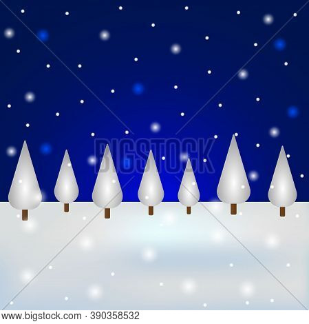 Christmas Snowy Forest With Blue Sky. Postcard For The Holiday, Vector Illustration.