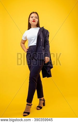 Successful Woman. Business Fashion. Smart Casual Look. Female Empowerment. Confident Ambitious Lady