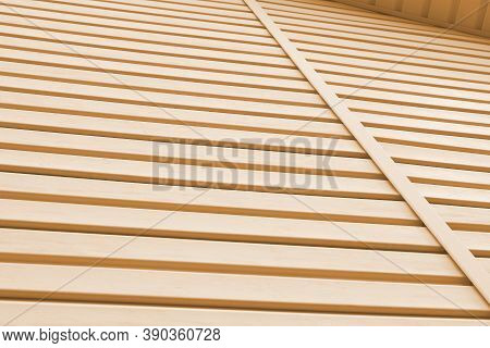Striped Plastic Siding Surface And Piece Of Cornice. Construction And Renovation Of Buildings. Tinte