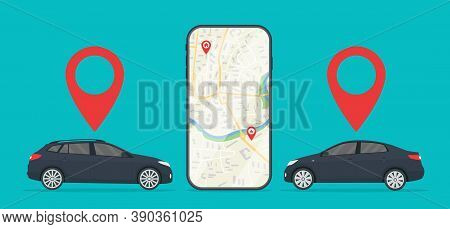 Car With App Of Cab In Mobile. Uber Taxi. Rent Of Car In City. Online Service With Location Of Auto