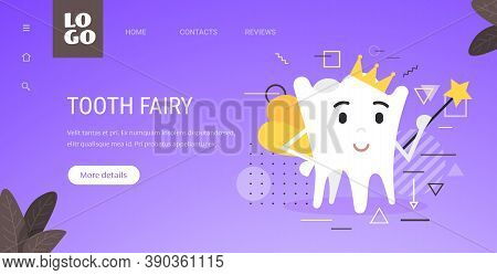Tooth Fairy Cute Personage With Magic Wand Oral Dental Hygiene Concept Copy Space Horizontal Vector