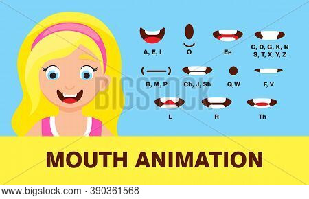 Girl Mouth Animation With Different Expressions In Flat Style Vector Illustration Set. Lip Sync Soun