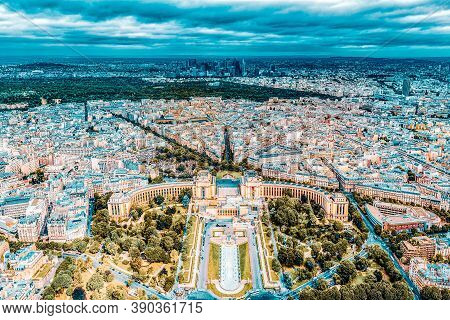 Panorama Of Paris View From The Eiffel Tower. View Of The Trocadero Palace.