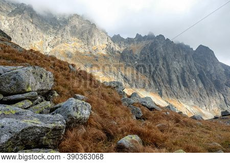 Great Cold Valley In High Tatras, Slovakia. The Great Cold Valley Is 7 Km Long Valley, Very Attracti
