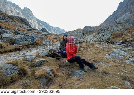 Vysoke Tatry, Slovakia - October, 2018: Hikers On Trail At Great Cold Valley,  Vysoke Tatry (high Ta